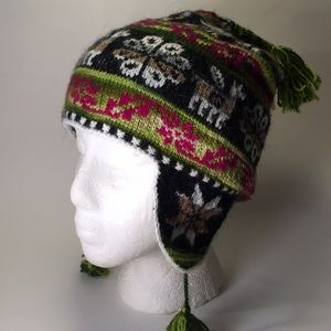 Alpaca wool knit beanie hat with tassels unisex